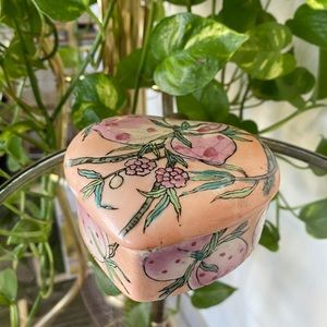Japanese Hand-painted Strawberry Heart Trinket Box